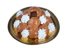 Italian pastry: chocolate profiteroles Stock Images
