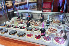 Italian pastry. View of the window of a Pastry in Rome with various cakes Royalty Free Stock Image