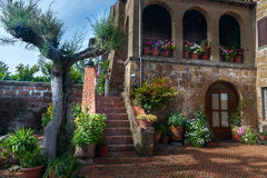 Italian patio in old  village Pitigliano Royalty Free Stock Images