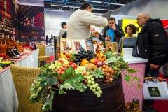 Italian Pavilion. Sale of traditional Italian goods - wine, cheese, ham. Royalty Free Stock Image