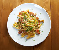 Italian Penne rigate pasta with Royalty Free Stock Photo