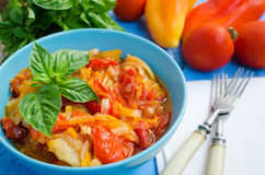 Italian peperonata: roasted bell pepper Stock Photos