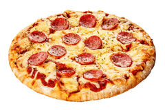 Italian pepperoni pizza on a thick pie crust. Italian pepperoni pizza with spicy sausage, mozzarella and tomato on a thick pie crust isolated on white viewed royalty free stock photo