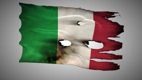 Italian perforated, burned, grunge waving flag loop alpha stock video