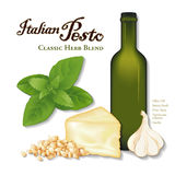 Italian Pesto, Classic Herb Blend. Pesto, popular Italian herb sauce for pasta and vegetables. garlic, Sweet Basil, pine nuts (Pignoli), Parmesan cheese ( Stock Image