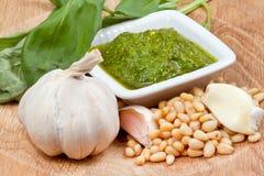 Italian pesto sauce with ingredient. On wood board Royalty Free Stock Photos