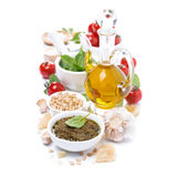Italian pesto sauce and ingredients, isolated Stock Photos