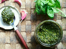 Italian pesto sauce rustic still life Royalty Free Stock Photo