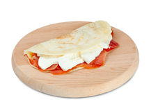 Italian piadina with ham and mozzarella cheese Royalty Free Stock Images