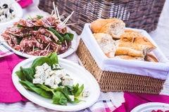 Italian picnic with salami, basil, cheese and bread. Royalty Free Stock Image