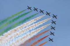 Italian pilots in the sky. Freche tri colore. Italian pilots in the sky stock photos