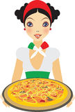 Italian pizza. Young beautiful Italian girl holding plate with big pizza Royalty Free Stock Images
