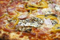 Italian pizza. Close up of authentic Italian pizza with chicken pancetta mozzarella char grilled pepper strips and provolone cheese Royalty Free Stock Photography