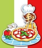Italian pizza. Colored illustration of the Italian pizza Stock Photography