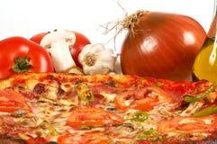 Italian pizza. Tasty pizza with onions close up stock photos