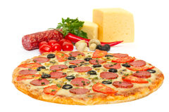 Italian Pizza And Its Ingredients Stock Photo