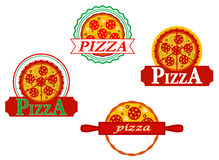 Italian pizza banners and emblems Royalty Free Stock Photo