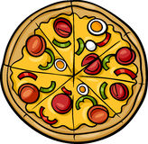 Italian pizza cartoon illustration Stock Images