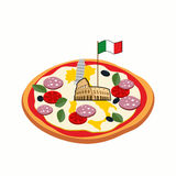 Italian pizza. Cheese in form of a silhouette map of Italy with Royalty Free Stock Photography