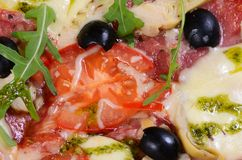 Italian pizza with cheese and olives Stock Photos