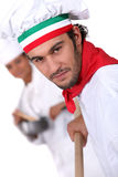 Italian pizza chef Royalty Free Stock Image