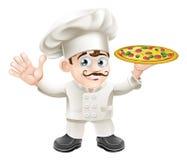 Italian pizza chef cartoon. Cartoon happy waving Italian pizza chef with curly moustache Stock Image