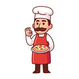 Italian pizza chef. Cartoon Italian chef holding pizza making traditional Bon Appetit gesture. Cute vector illustration Royalty Free Stock Photography