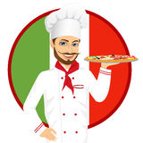 Italian pizza chef with funny mustache Royalty Free Stock Photos