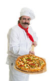 Italian Pizza Chef. Chef with handlebar mustache holding a pizza on a peel Royalty Free Stock Photography