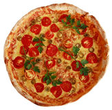 Italian pizza with cherry tomatoes and green basil Royalty Free Stock Images