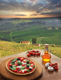 Italian pizza in Chianti, vineyard landscape in Italy. Italian pizza in Chianti, famous vineyard landscape in Italy royalty free stock photography