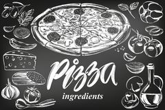 Italian pizza , collection of pizza with ingredients, logo, hand drawn vector illustration realistic sketch , drawn in. Italian pizza , collection of pizza with stock illustration
