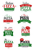 Italian pizza colorful labels and signs Stock Image
