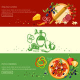 Italian pizza cooking and ingredients banners Royalty Free Stock Images
