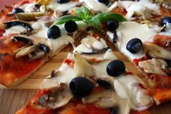 Italian pizza. Italian delicious pizza with vegetables Royalty Free Stock Photos