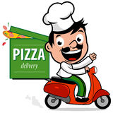 Italian pizza delivery chef in scooter. Cartoon Italian pizza delivery man in chef uniform riding a scooter and delivering a pizza Stock Image