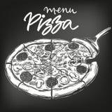Italian pizza , drawn in white chalk on a black background, Pizza design template, logo, hand drawn vector illustration Stock Image