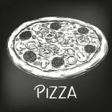 Italian pizza , drawn in white chalk on a black background, Pizza design template, logo, hand drawn vector illustration. Realistic sketch vector illustration