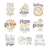 Italian Pizza Fast Food Promo Labels Collection Royalty Free Stock Photos