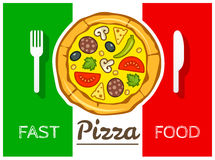 Italian pizza fast food vector Stock Images