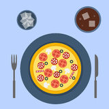 Italian pizza. In flat style Royalty Free Stock Photography