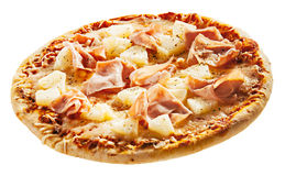 Italian pizza with ham and pineapple Royalty Free Stock Image