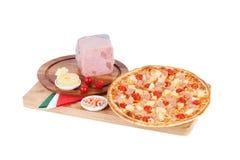 Italian pizza with ham, shrimp, cherry, pineapple Royalty Free Stock Photo