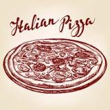 Italian pizza hand drawn vector llustration sketch Stock Photo