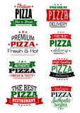 Italian pizza headers, banners and labels Stock Images