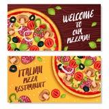 Italian Pizza Horizontal Banners Stock Image