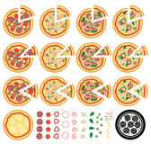 Italian pizza icons, vector  Royalty Free Stock Photo