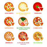 Italian pizza icons Royalty Free Stock Photo