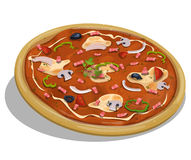 Italian Pizza. Illustration of an appetizing cartoon italian pizza icon, with tomatoes slices, onions, mushrooms, cheese, dairy cream, and pig pieces for Stock Image