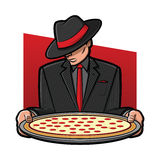 Italian Pizza. Illustration of a gangster holding a pizza pie Stock Photography